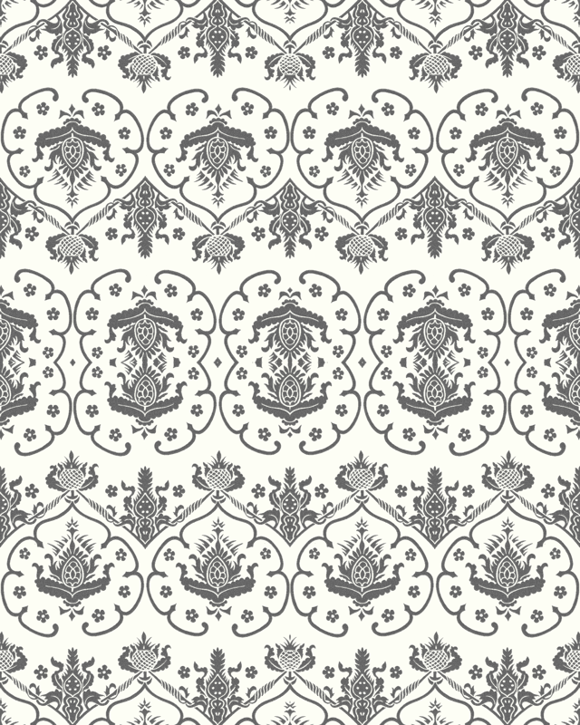 Gothic Damask Cologne Silver Embroidery On White Giftwrap