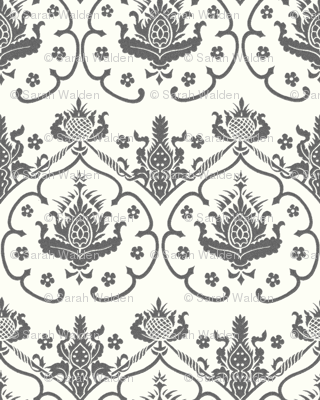 Gothic Damask Cologne Silver Embroidery On White Back Peacoquette Designs Spoonflower Logo Thumb