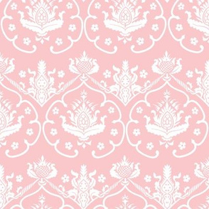 Gothic Damask ~ Cologne ~ White on Dauphine Pink