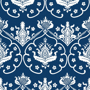 Gothic Damask ~ Cologne ~ White on Lonely Angel Blue