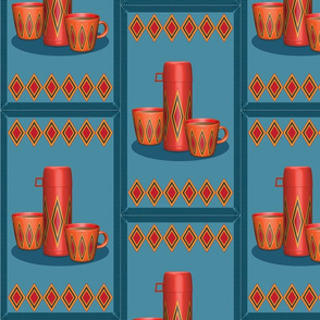 Thermos and Cups on Blue