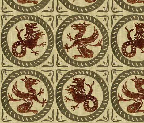 13th Century Dragon Tile  fabric by peacoquettedesigns on Spoonflower - custom fabric
