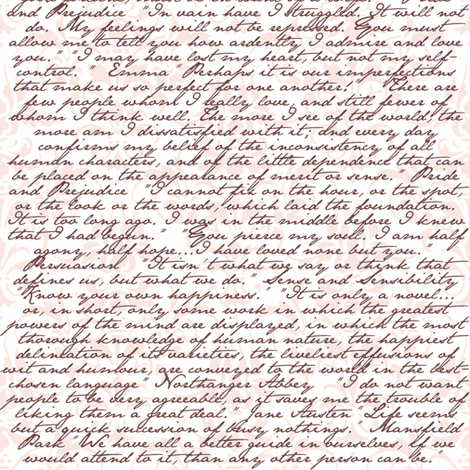 Jane Austen Damask ~ Arabesque Pink and Chocolate on White fabric by peacoquettedesigns on Spoonflower - custom fabric