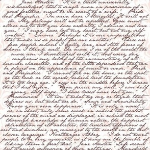 Jane Austen Damask ~ Arabesque Pink and Chocolate on White