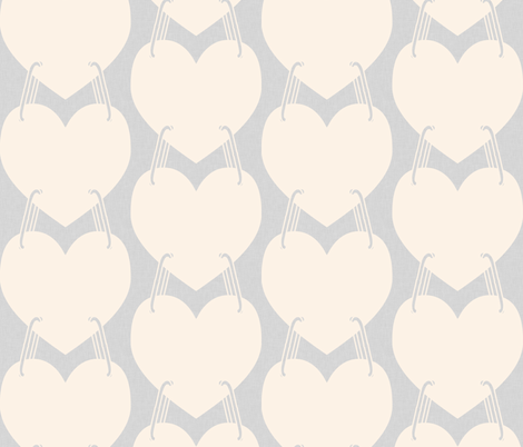 linking hearts, gray and peach fabric by allison_crary on Spoonflower - custom fabric