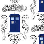 Police Box Damask Blue Large