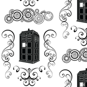 Police Box Damask Black Large