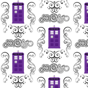 Police Box Damask Purple Small