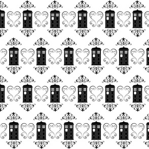 Police Box Damask Simple