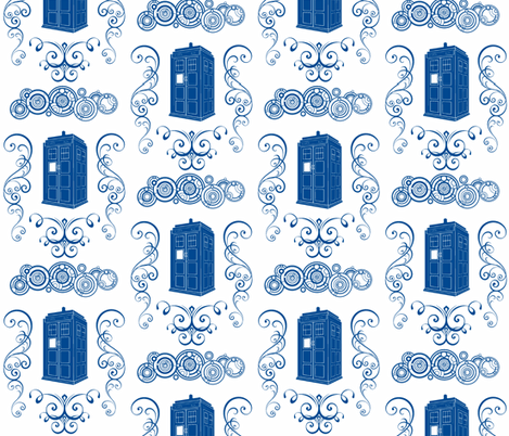 Police Box Damask Blue Large fabric by rockbabyscissors on Spoonflower - custom fabric