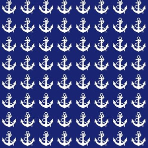 White Anchors On Navy Blue