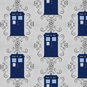 Police Box Damask Linen Large