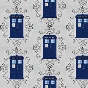 Police Box Damask Linen Small