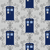 Police Box Gallifreyan Damask Linen