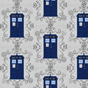 Police Box Gallifreyan Damask Linen Small