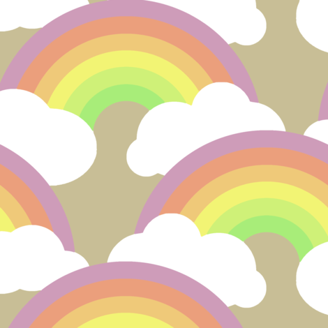 rainbow scallop on tan fabric by weavingmajor on Spoonflower - custom fabric