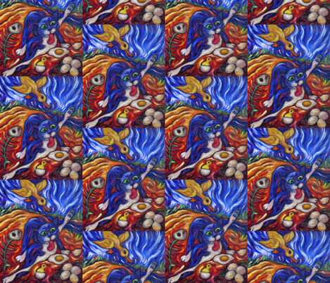 Bad Kitty Gets Caught fabric by diconnollyart on Spoonflower - custom fabric