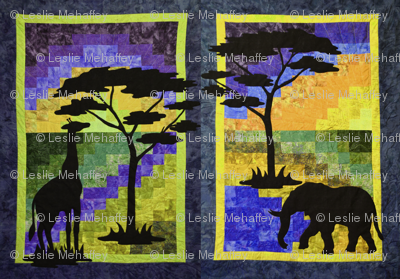 Elephant and Giraffe side by side in African scenes. Yellow,Orange and Cobalt Blue