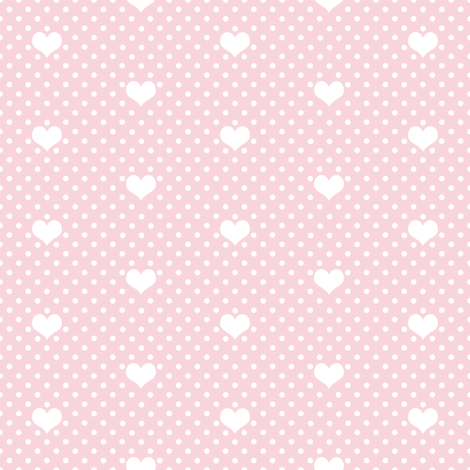 Polka Dot Heart Rose Pink fabric by thistleandfox on Spoonflower - custom fabric