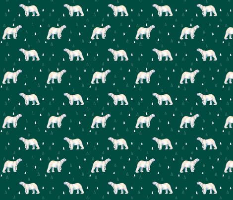 Polar Bear Evergreen fabric by thistleandfox on Spoonflower - custom fabric