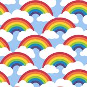 circle rainbow - blue skies