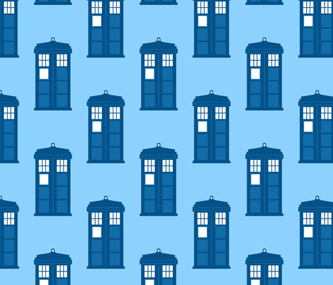 police box space time doctor fabric by castl3t0n on Spoonflower - custom fabric
