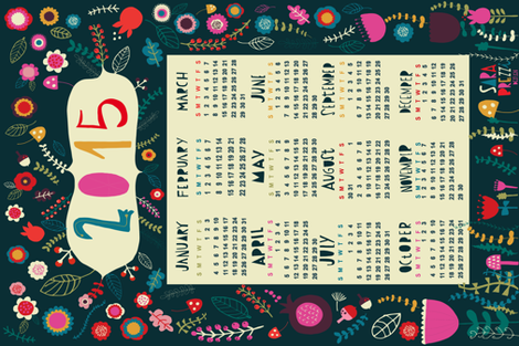 underwood 2015 tea towel calendar fabric by sarabrezzi_design on Spoonflower - custom fabric