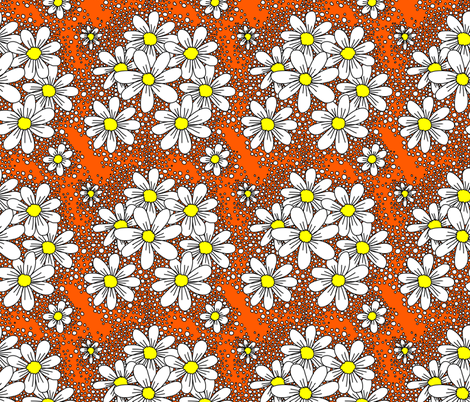 fresh daisies orange and white fabric by beesocks on Spoonflower - custom fabric