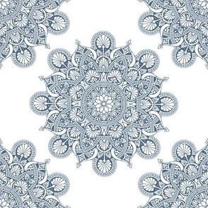 fortune mandala superior blue #526a81 white ground
