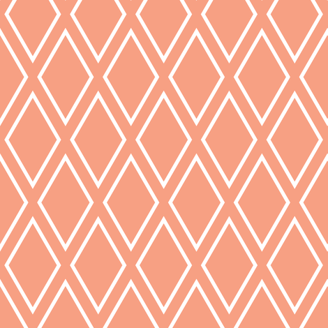 diamonds // coral fabric by littlearrowdesign on Spoonflower - custom fabric