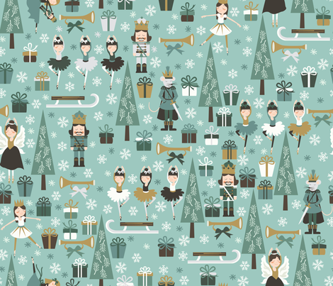 the nutcracker in teal fabric by oliveandruby on Spoonflower - custom fabric