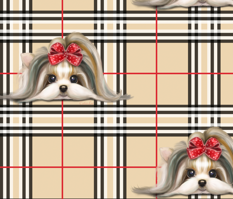 Parti-Biewer-Yorkie Plaid XL fabric by catialee on Spoonflower - custom fabric