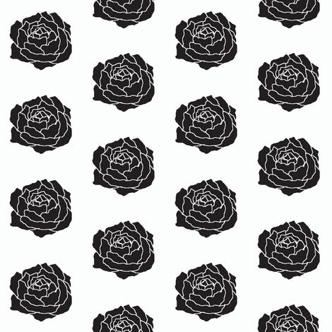 Black peony fabric by mintpeony on Spoonflower - custom fabric