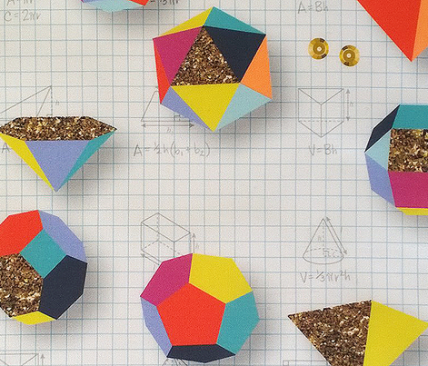 Sparkle Geometry* (Show Your Work) || geometric polygon 3d dimensional shapes glitter sequins sparkle 80s math science graph paper pencil formula equations