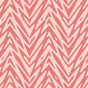 feather zigzag in coral
