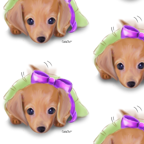 Dachshund Puppy White M fabric by catialee on Spoonflower - custom fabric