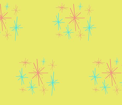 B-D-Mid_Century_Star_Blast_on_green fabric by ladywendolyn_ on Spoonflower - custom fabric