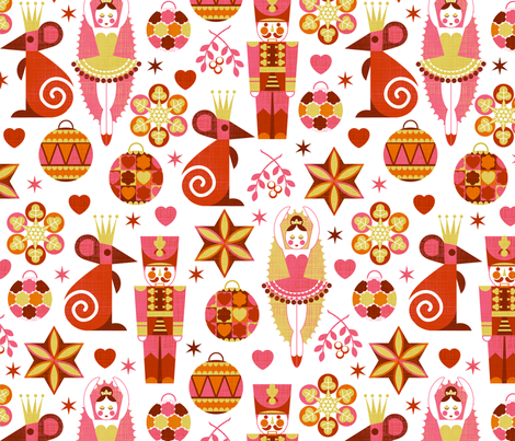 Festive Nutcracker red on white fabric by cjldesigns on Spoonflower - custom fabric
