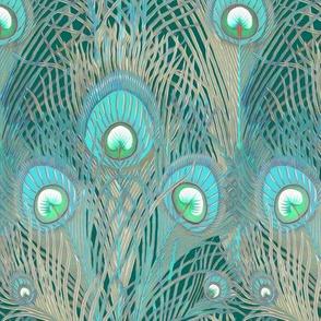 peacock aqua and lichen