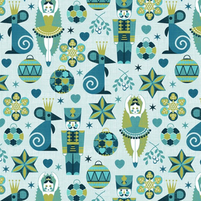 Festive Nutcracker blue on blue