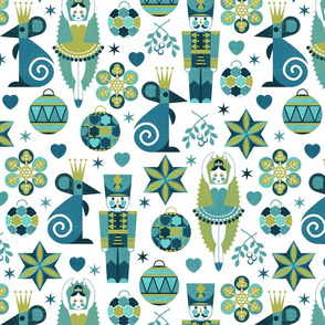 Festive Nutcracker blue on white
