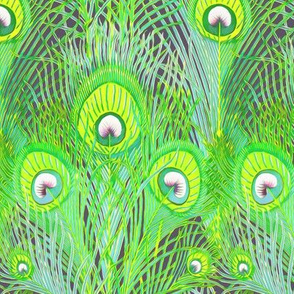 peacock chartreuse and aqua