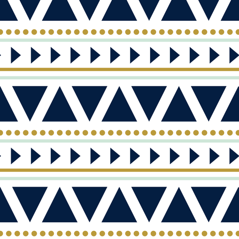 aztec // blue and mint fabric by littlearrowdesign on Spoonflower - custom fabric