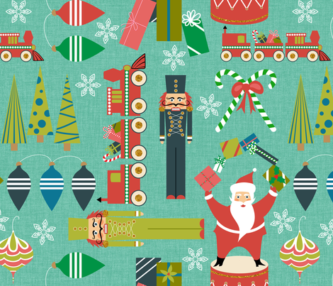 Christmas with Nutcrackers fabric by vo_aka_virginiao on Spoonflower - custom fabric