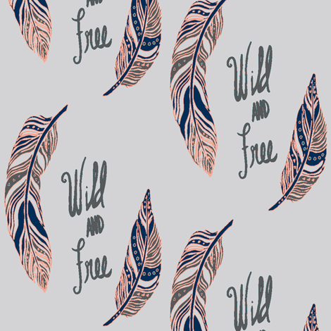 Wild & Free -Grey fabric by b__woolf on Spoonflower - custom fabric