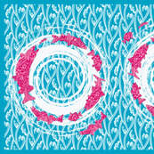 great lakes fish towel turquoise and pink