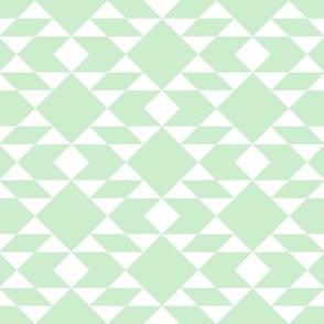 White on Pistachio Geometric Design