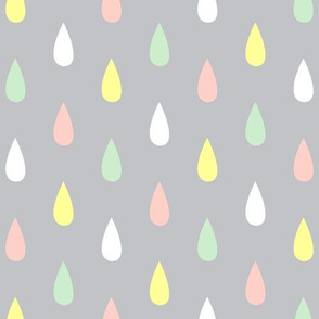 Colourful Raindrops Lemon, Peach, Pistachio, White on Mist