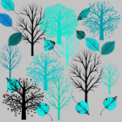 Aqua Trees in a Forest