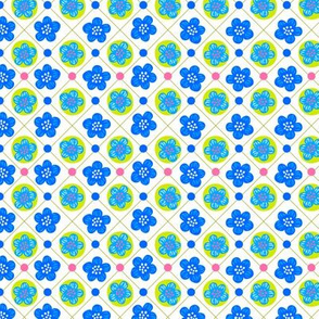 Flowers in a grid - blue